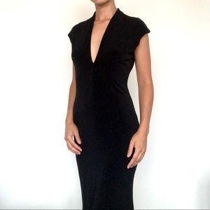 Moda International front slit black dress